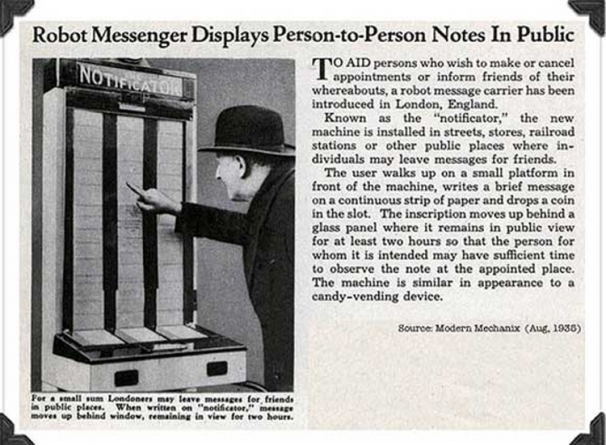 Too funny! Those clever Brits had the prototype for Twitter in 1935.